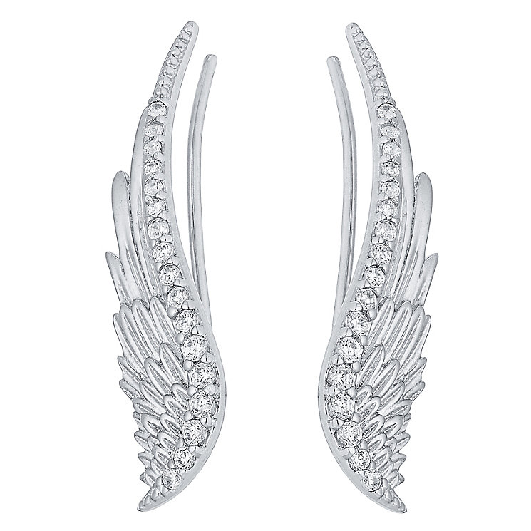 Sterling Silver Cubic Zirconia Angel Wing Ear Climber - Product number 4413261