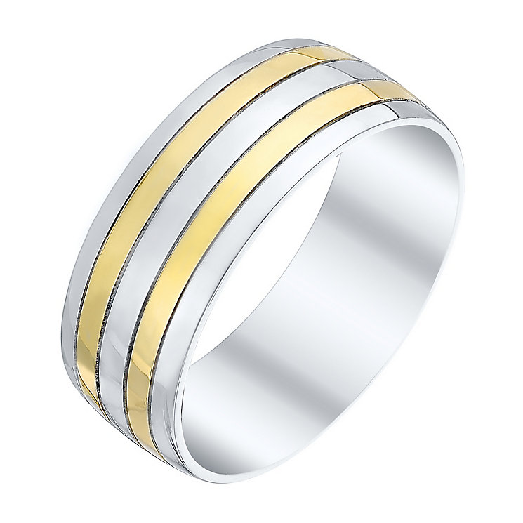 Men's Sterling Silver & 9ct Gold Stripe Patterned Band - Product number 4413644
