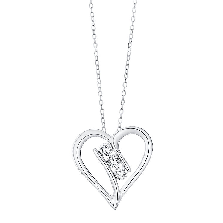 Sterling Silver 3 Cubic Zirconia Large Open Heart Pendant - Product number 4415132