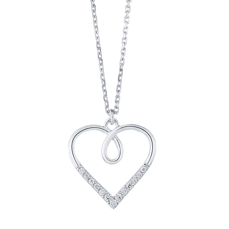 Sterling Silver Crossover Cubic Zirconia Set Heart Pendant - Product number 4416120