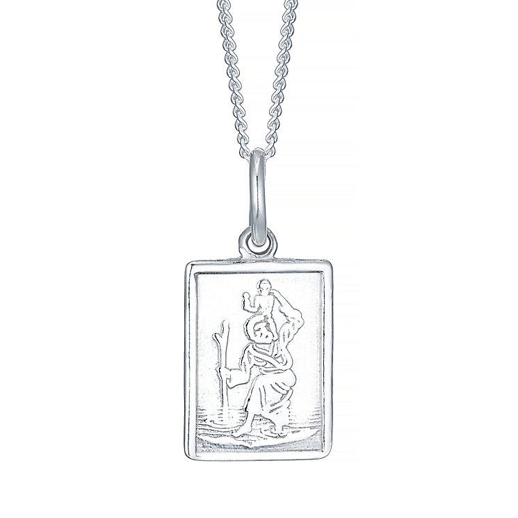 Sterling Silver Small Rectangular St Christopher Pendant - Product number 4416805