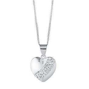 Sterling Silver Crystal Set Stripe Puff Heart Pendant - Product number 4416864
