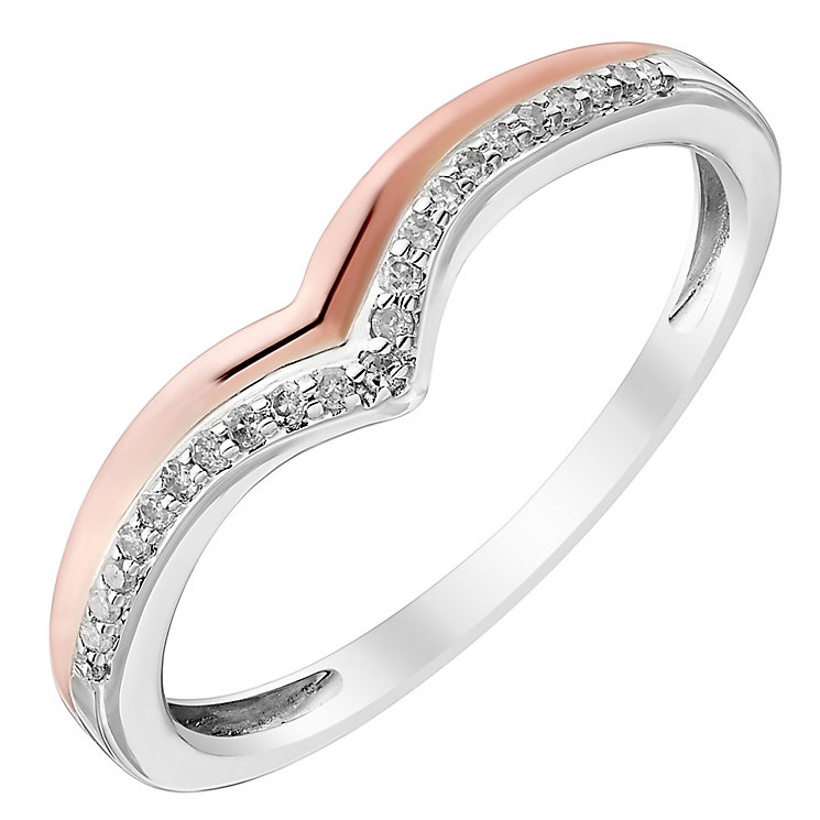 Ladies' 9ct White & Rose Gold Diamond Set Wishbone Band - Product number 4416872