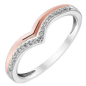 Ladies' 9ct White & Rose Gold Diamond Set Wishbone Band - Product number 4416872
