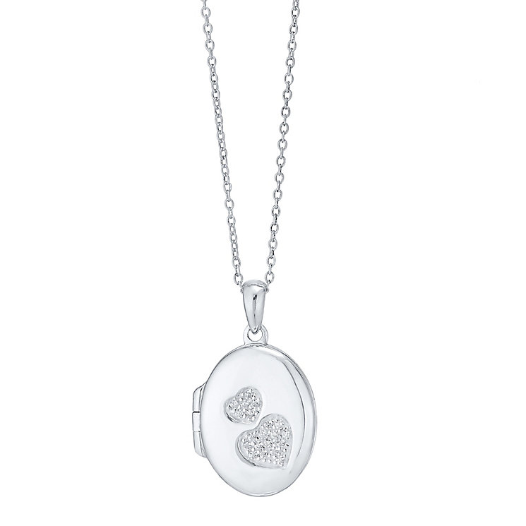Sterling Silver Cubic Zirconia Set Double Heart Oval Locket - Product number 4417178