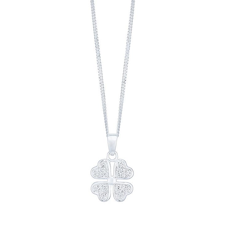 Sterling Silver Cubic Zirconia Set 4 Leaf Clover Pendant - Product number 4417771