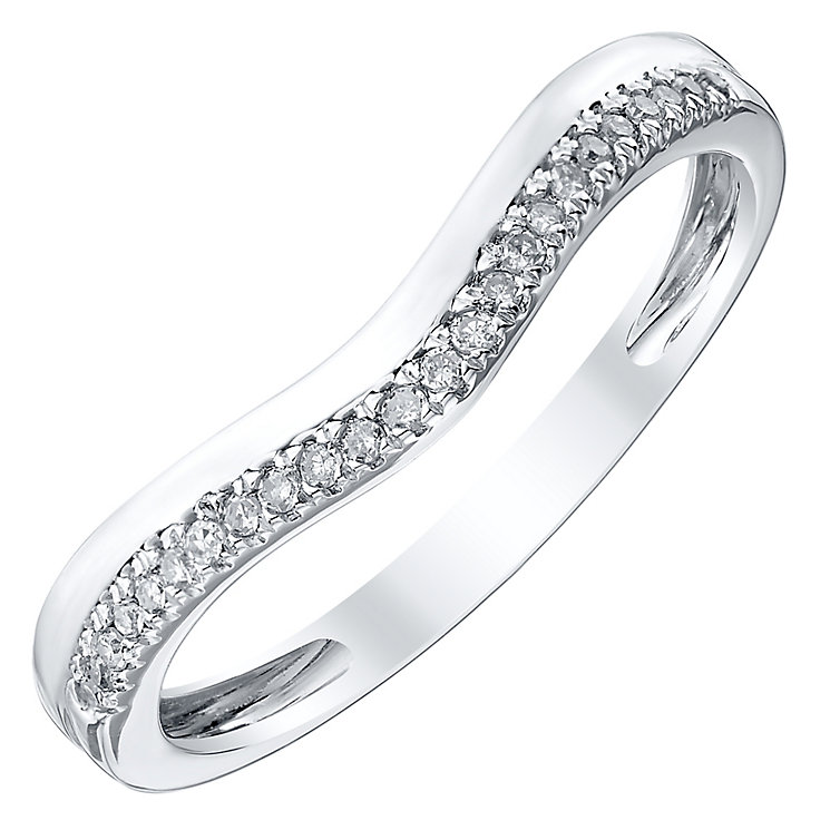 Ladies' Platinum Diamond Set Shaped Band - Product number 4418212