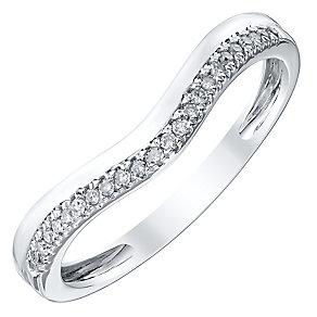 Ladies' Platinum Diamond Set Shaped Band - Product number 4418212