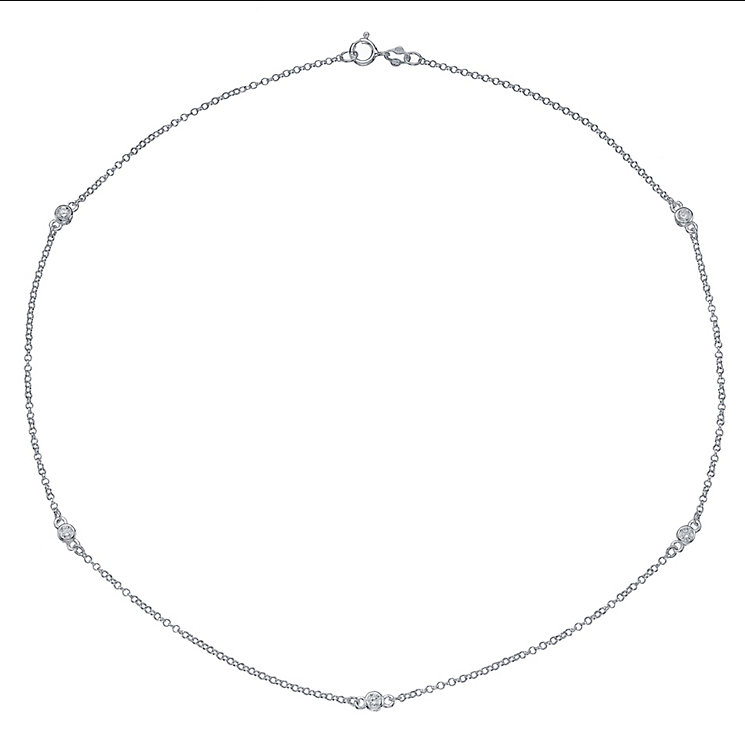 Sterling Silver Cubic Zirconia Set Station Necklace - Product number 4419243