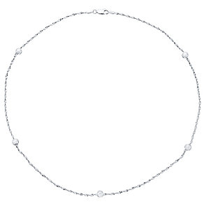 Sterling Silver Twist Herringbone & Ball Chain Necklace - Product number 4419278