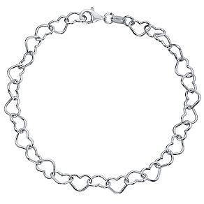 Sterling Silver Plain Hearts Link Bracelet - Product number 4419669