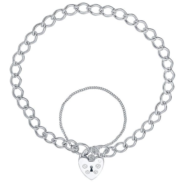 Sterling Silver Heart Padlock Bracelet - Product number 4419839