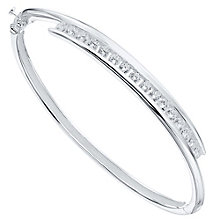 Sterling Silver Cubic Zirconia Tension Set Bangle - Product number 4420470