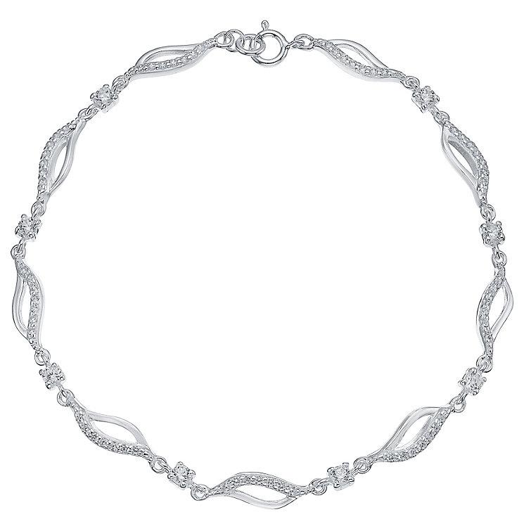 Sterling Silver Cubic Zirconia Set Wave Bracelet - Product number 4420926
