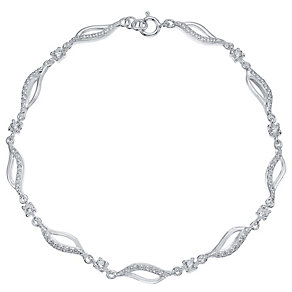 Sterling Silver Cubic Zirconia Set Wave Bracelet - Product number 4420926