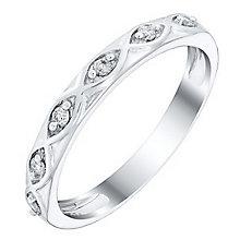 Ladies' 18ct White Gold Diamond Set Twist Band - Product number 4420942