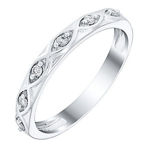 Ladies' 18ct White Gold Diamond Set Twist Band - Product number 4420942