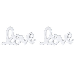 Viva Sterling Silver Love Stud Earrings Boxed - Product number 4421256