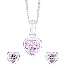 Sterling Silver Pink Cubic Zirconia Pendant & Stud Earrings - Product number 4421965