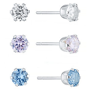 Sterling Silver 3 Colour Crystal Stud Earrings Set - Product number 4421973