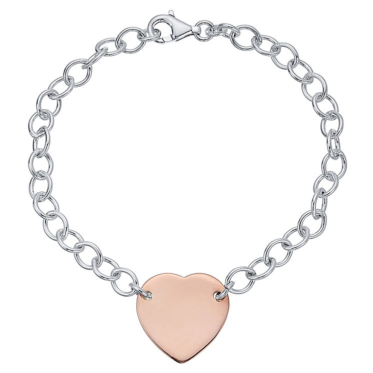 Sterling Silver & Rose Gold-Plated Heart Bracelet - Product number 4422007