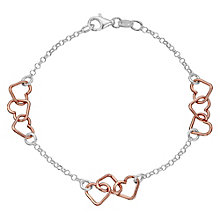 Sterling Silver & Rose Gold-Plated Heart Station Bracelet - Product number 4422031