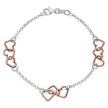 Sterling Silver & Rose Gold-Plated Heart Station Bracelet - Product number 4422031