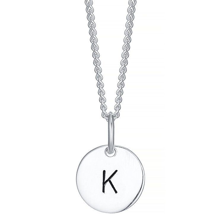 Sterling Silver Small Initial K Disc Pendant - Product number 4422252