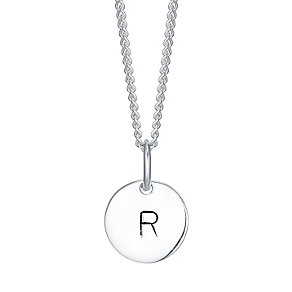 Sterling Silver Small Initial R Disc Pendant - Product number 4422392