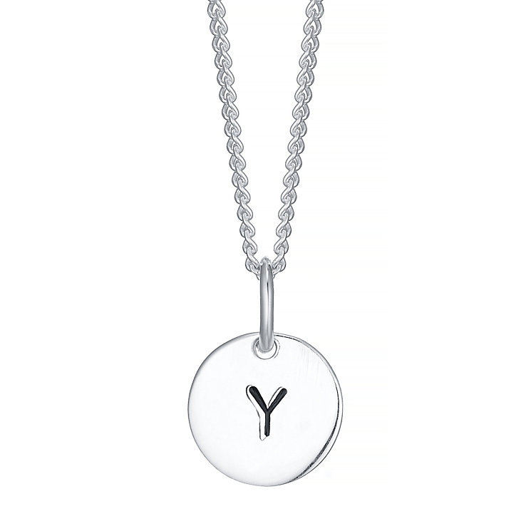 Sterling Silver Small Initial Y Disc Pendant - Product number 4422740
