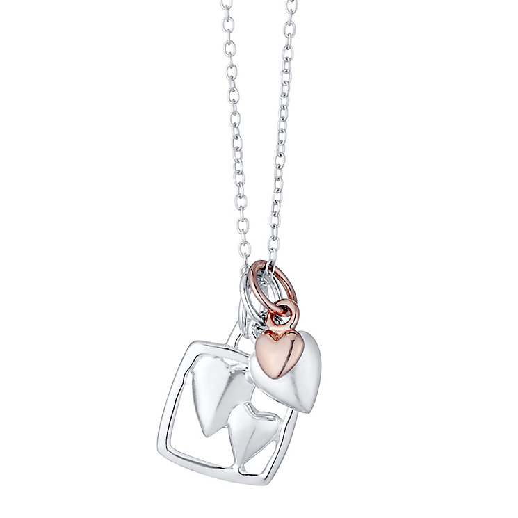 Sterling Silver & Rose Gold-Plated Sisters Charm Pendant - Product number 4422813