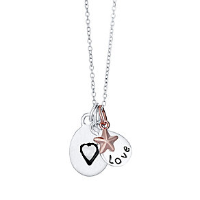 Sterling Silver & Rose Gold-Plated Star Love Mum Pendant - Product number 4422848