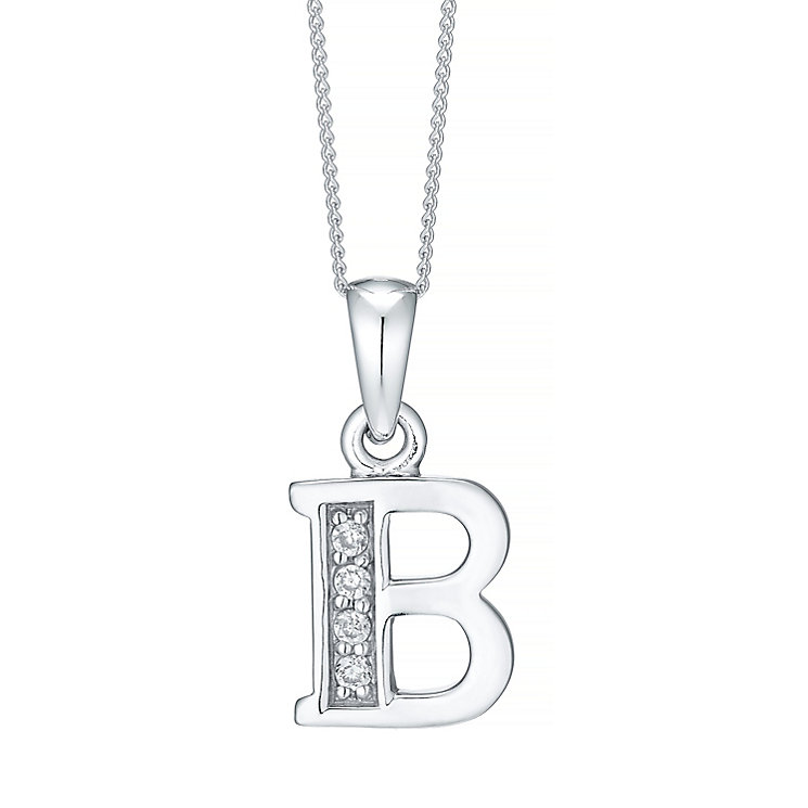 Rhodium-plated Cubic Zirconia Initial B Pendant - Product number 4422929