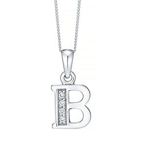 Sterling Silver Cubic Zirconia Set Initial B Pendant - Product number 4422929