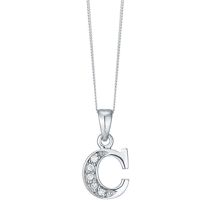 Rhodium-plated Cubic Zirconia Initial C Pendant - Product number 4422937