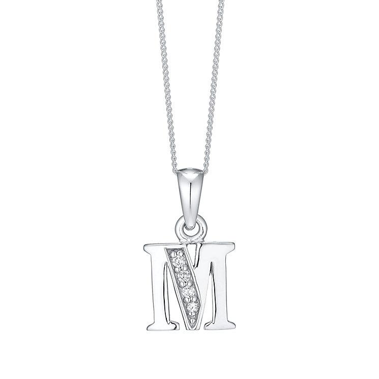 Rhodium-plated Cubic Zirconia Initial M Pendant - Product number 4423259