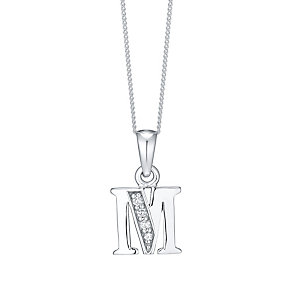 Sterling Silver Cubic Zirconia Set Initial M Pendant - Product number 4423259