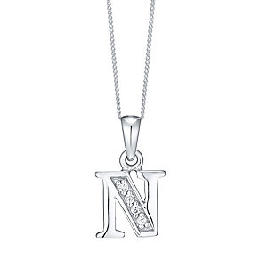Sterling Silver Cubic Zirconia Set Initial N Pendant - Product number 4423275