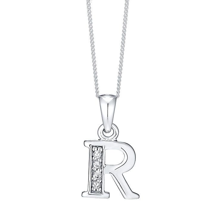 Rhodium-plated Cubic Zirconia Initial R Pendant - Product number 4423410