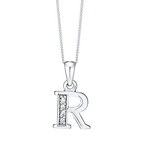 Sterling Silver Cubic Zirconia Set Initial R Pendant - Product number 4423410