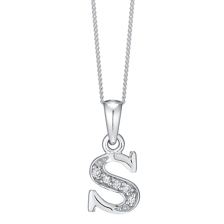 Rhodium-plated Cubic Zirconia Initial S Pendant - Product number 4423429