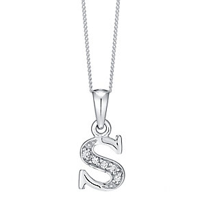 Sterling Silver Cubic Zirconia Set Initial S Pendant - Product number 4423429