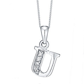 Sterling Silver Cubic Zirconia Set Initial U Pendant - Product number 4423496