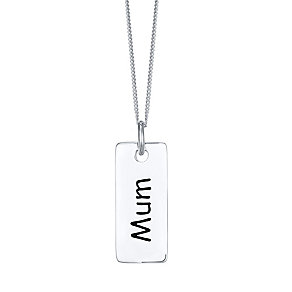 Sterling Silver Mum Small Dog Tag - Product number 4423739