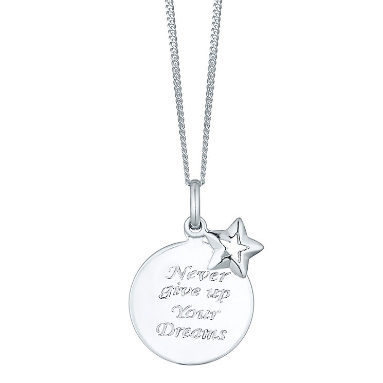 Sterling Silver Dreams Sentiment Pendant - Product number 4423852