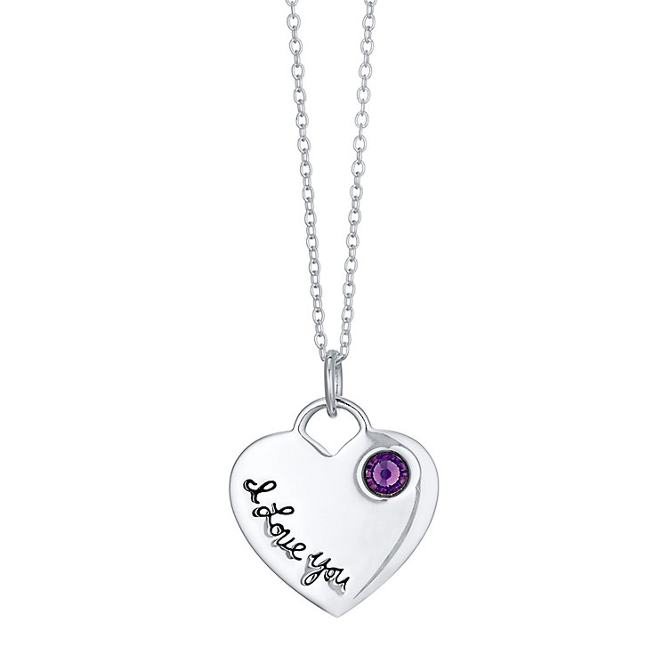 Sterling Silver 'I Love You' Cubic Zirconia Heart Pendant - Product number 4423879