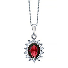 Sterling Silver Red Glass & Cubic Zirconia Cluster Pendant - Product number 4423925