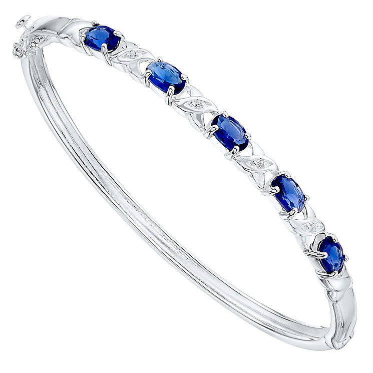 Sterling Silver Blue Glass & White Cubic Zirconia Set Bangle - Product number 4424050