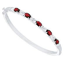 Sterling Silver Red Glass & White Cubic Zirconia Set Bangle - Product number 4424069