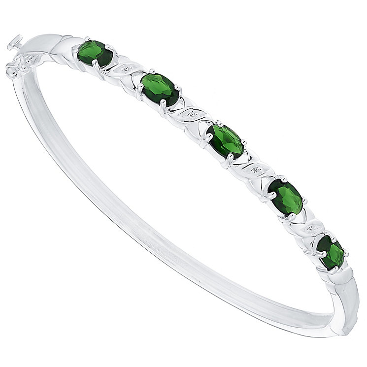 Sterling Silver Green Glass & White Cubic Zirconia Bangle - Product number 4424077